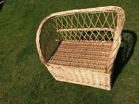 Wicker childrens storage bench, basket, seat, conservatory