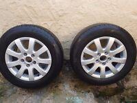 2 VOLKSWAGEN golf '15' size alloy wheels. In good condition. 195/65r15.