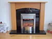 Fireplace - Dimplex Siva Electric Fire, Oak Surround & Black Granite Hearth