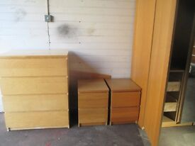 wardrobe bedsides and chest of drawers