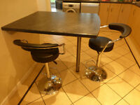 2x chrome padded bar stools with gas struts