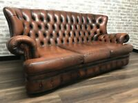Antique Tan Leather Chesterfield Spoon Sofa