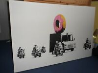 Banksy canvas 260 x 395mm Doughnut escorted by police