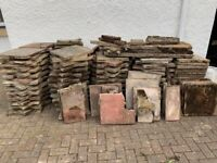 60m2 paving slabs- mixed colours (yellow, red, grey)