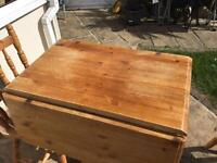 Solid Pine folding table and 3 Pine chairs