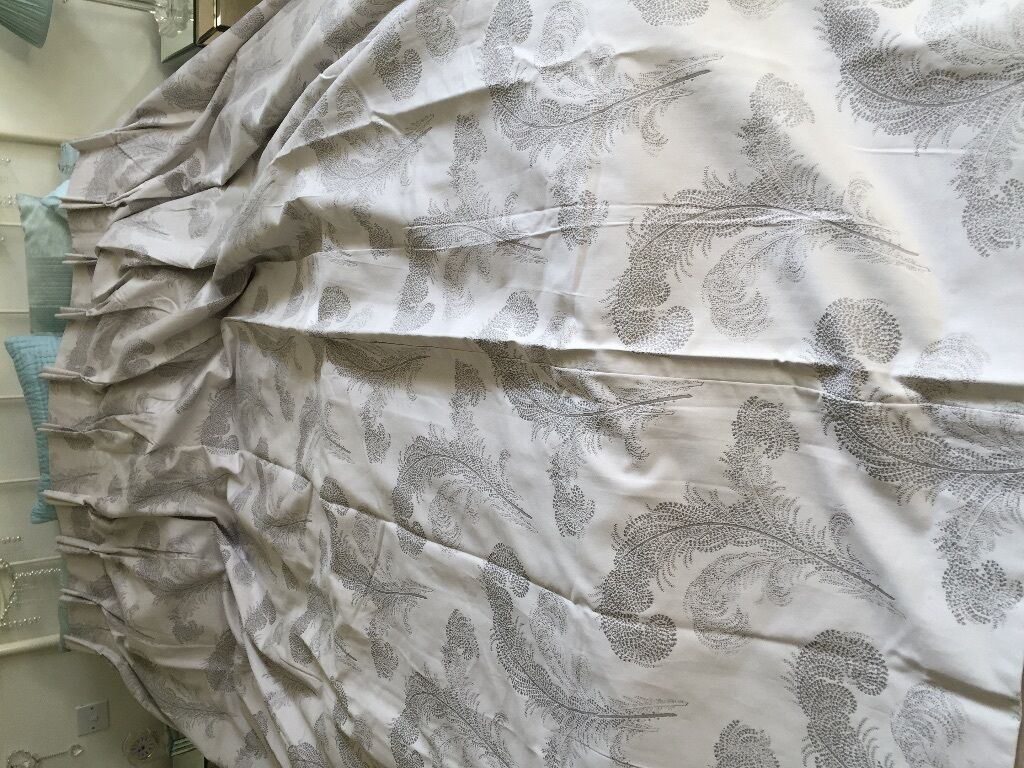 Laura Ashley Swansbrook Dove Grey Double Pleat Fuly Lined Curtains - Laura ashley silk curtains