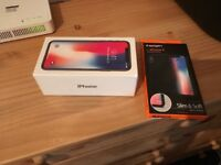 iPhone X space grey 64GB unlocked brand new sealed with spigen case.