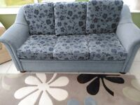 3/4 seater blue floral sofa