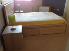 Standard double bed frame MALM in a perfect condition, with 4 storage drawers
