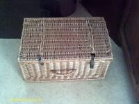 WICKER PICNIC BASKET AND CONTENTS.