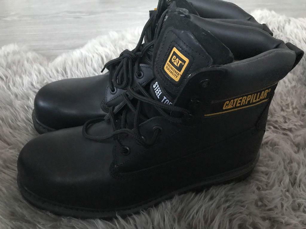 Caterpillar Holton Sb Lace Up Boots Black Steel Toe 10 Brand New In