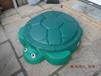 Little Tikes turtle sandpit with lid plus 3 sand toys
