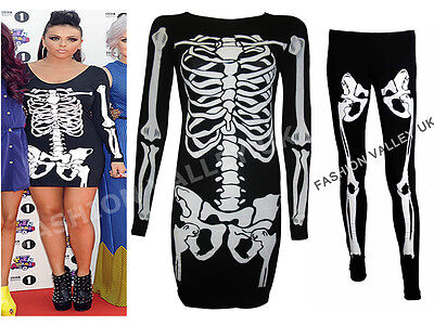 UNIC TOP LEGGINGS WOMENS SCARY FANCY DRESS COSTUME SIZE 8-26 (Top Scary Halloween-kostüme)