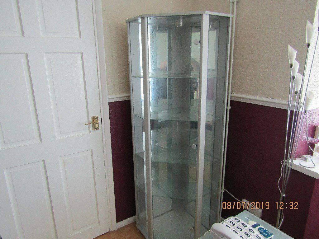 Silver Corner Gl Display Cabinet