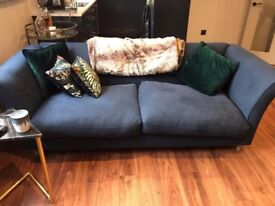 New Dark Blue Three-Seater Loaf Chester Sofa