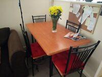 Beech gloss veneer dining table + 4 chairs
