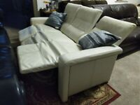 3 seater All reclining Sofa Cream white Leather Deliv Poss HEAVY