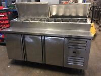 Commercial Stainless Steel Undercounter Fridge with 9 Saladette Pots
