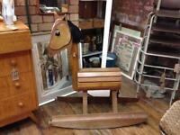 VINTAGE RETRO QUIRKY HANDMADE BESPOKE BARREL WOODEN ROCKING HORSE AS FEATURED ON TV