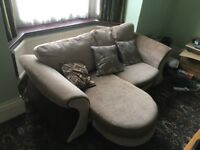 2 + 3 seater sofas, inc cushions and matching curtains