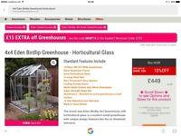 New 4x4 Eden birdlip greenhouse horticultural glass