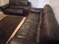 DFS 2 and 3 seater Brown leather sofa suite