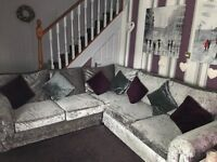 Grey crushed velvet corner sofa £500