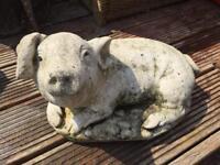 Large vintage cast stone garden pig ornament