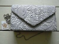 Grey Lace Clutch Bag *brand new with label*