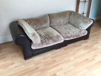 Chocolate brown leather chair set with a large leg rest included - Reduced Price (OPEN TO OFFERS)