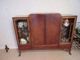 Walnut display cabinet. .