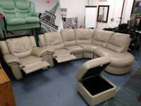 Large cream corner sofa with recliner end and armchair