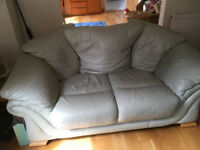 Pale Green 2 Seater Leather Sofa Settee (Matching suite)