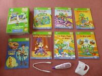 Leapfrog Tag Reader Pen with holder, set of short vowel books and computer lead - suits 4-7 years