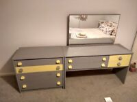 Chest of drawers and dresser with mirror matching - grey and yellow