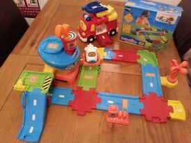 Vtech toot toot drivers airport, big fire engine and box of extra track
