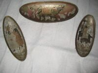 Three Small Antique Painted Brass Persian Ornamental Trays