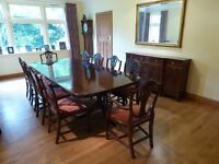 Mahogany dining room table, 10 chairs and sideboard