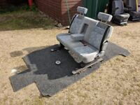 VW T4 T5 3 Seat Sliding Folding Camper Van Triple Bench & fitted mat table. belts bed etc