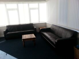 Creations large dark brown leather sofas- Free!
