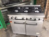 CATERING COMMERCIAL 6 BURNER GAS COOKER OVEN CAFE RESTAURANT FAST FOOD KITCHEN BAR