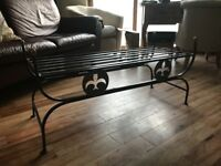 Double Iron Bench. Contemporary style. Suitable for indoors/outdoors.