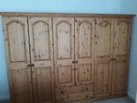 PINE WOOD WARDROBES ( IN 3 SECTIONS ) size L 2600mm Ht 1860mm D 520mm