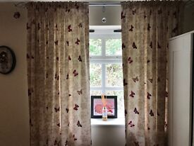 2x beige curtains with red butterflies