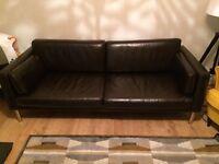 three seat leather sofa Ikea