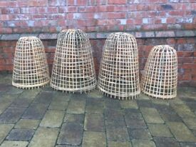 Large bamboo cloches x4 PRICE RDUCED