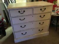 Vintage Solid Wood Shabby Chic Chest of Drawers