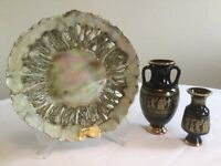 HANDCRAFTED PLATE and TWOSMLL GREEK VASES