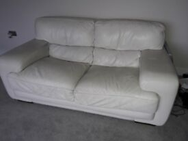 2 Seater White Leather Sofa