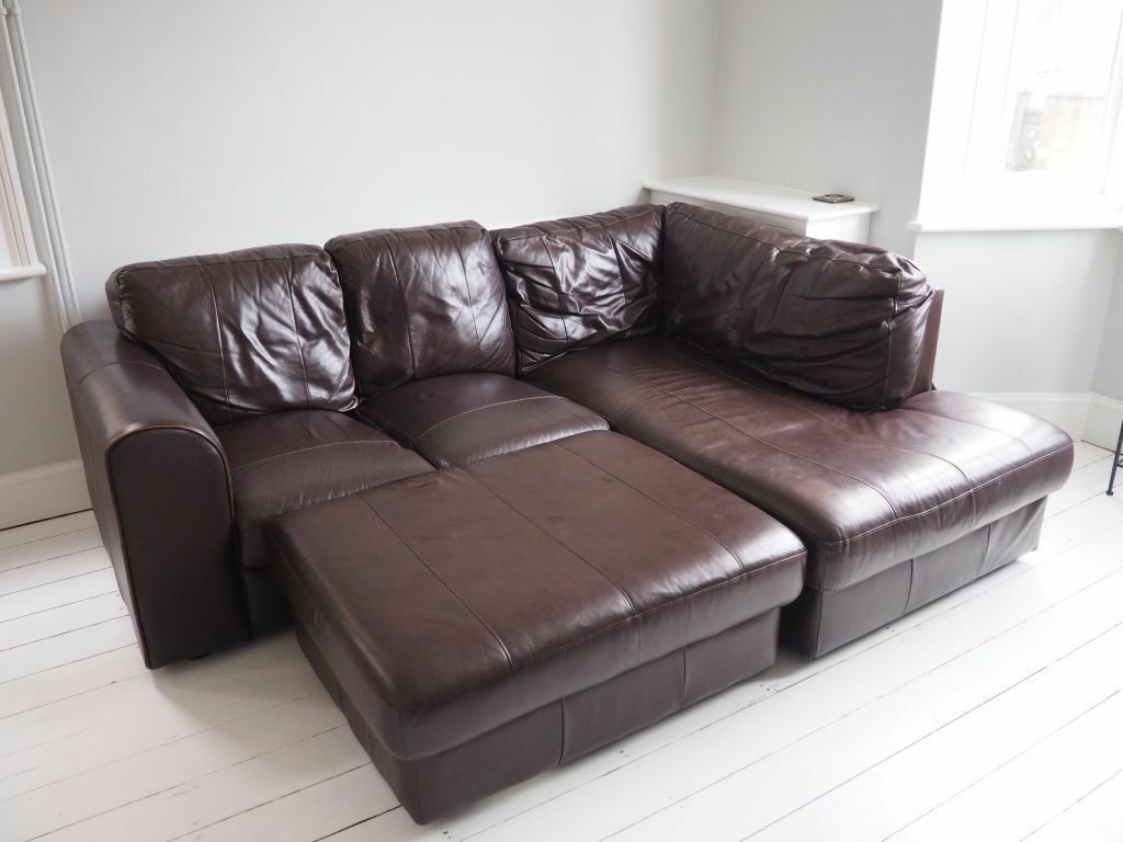 Real Leather Corner Sofa (cost £1,800 New)